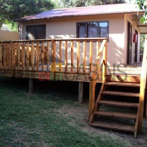 Cabin, Veranda,Deck And Stairs With Handrail
